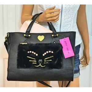 Betsey Johnson Bags - Betsey Johnson Cat Face Handbag & Pouch Set New